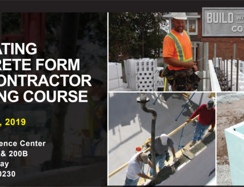 Insulating Concrete Form (ICF) Contractor Training on December 3